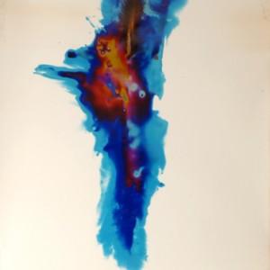 """Blue Streak"", 2006, ca. 180x130cm, Rocketogram / Color-Photogram, unique"