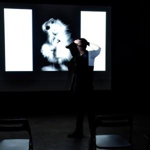 """Documentation/Installation view of """"""""THE FLECTIONS_Fire the lightning"""" an epilogue in 21 Lumi – Intelligibilities."""" 2018,  """"Ungeborenen Elefanten ins Maul sehen oder von der schönen Ordnung der Dinge"""", PORT25, Mannheim (Group)"""