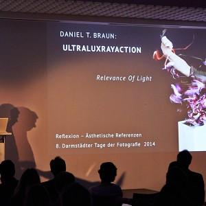 During lecture at 8. Darmstädter Tage der Fotografie 2014. Picture © Felix Schöppner